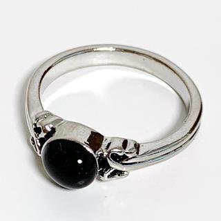 オニキス ブラックストーン シルバーカラー 指輪 リング 10号(リング(指輪))