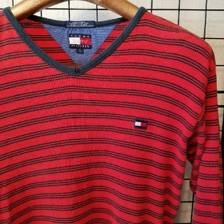 トミーヒルフィガー(TOMMY HILFIGER)の90's vintage TOMMY HILFIGER 刺繍 ボーダー柄 長袖(Tシャツ(長袖/七分))