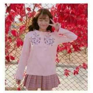 ●トレンド●トップス花刺繍 ブラウス ピンク Lサイズ(Tシャツ/カットソー(七分/長袖))
