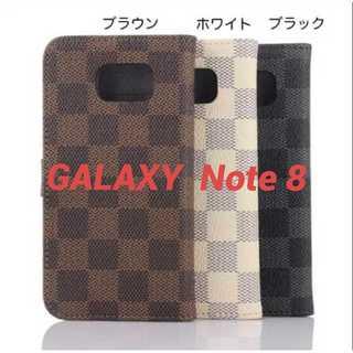 ★ギャラクシー Note8 / Note9/10レザー 格子柄 手帳型 ケース★