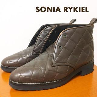 ソニアリキエル(SONIA RYKIEL)のソニアリキエル ショートブーツ レースアップ ダークブラウン 革 茶色 革靴(ブーツ)