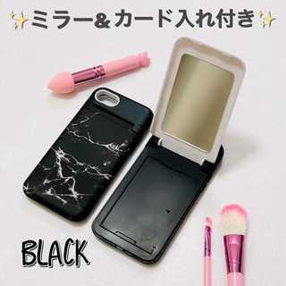 ブラック大人気♡大理石風iPhone♡ 鏡ケース付 スタンド機能 c