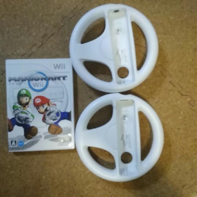 Wii(ウィー)のマリオカートwii ハンドル付き 説明書はありません エンタメ/ホビーのゲームソフト/ゲーム機本体(家庭用ゲームソフト)の商品写真