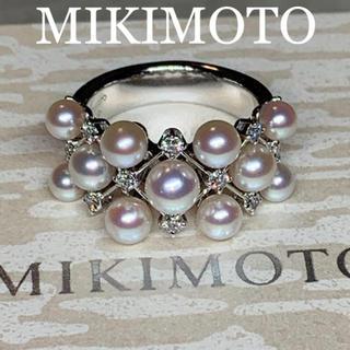 ミキモト(MIKIMOTO)の極上 MIKIMOTO K18WG ベビーアコヤパール ダイヤモンドリング 美品(リング(指輪))