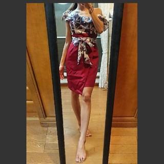 ジュエルズ(JEWELS)の値下げ ワンショルダー Jewels ドレス キャバ フラワー柄(ナイトドレス)