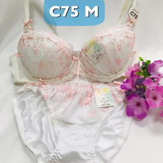 【送料込み】C75M ピンクリボン刺繍 ホワイト ブラジャーとショーツ(ブラ&ショーツセット)