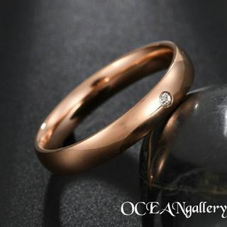 送料無料 14号 ピンクゴールドステンレススーパーCZ シンプル甲丸リング 指輪(リング(指輪))