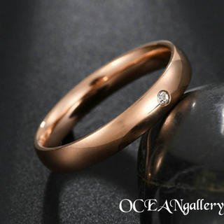 送料無料 15号 ピンクゴールドステンレススーパーCZ シンプル甲丸リング 指輪(リング(指輪))
