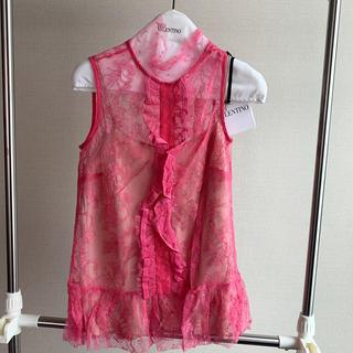 レッドヴァレンティノ(RED VALENTINO)のRed Valentino♡ピンクレーストップス♡インナー付き新品(シャツ/ブラウス(半袖/袖なし))