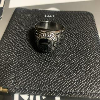 カレッジリング 古着  ストーン リング 指輪 メンズ 24号 ミリタリー(リング(指輪))