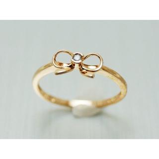 可愛い♡ リボン ダイヤリング  k10ピンクゴールド(リング(指輪))