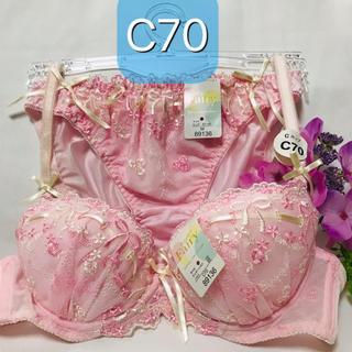 【送料込み】C70 M ピンクリボン柄 ピンク ブラジャーとショーツ(ブラ&ショーツセット)