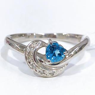PT900 ブルートパーズ ダイヤモンド リング(リング(指輪))