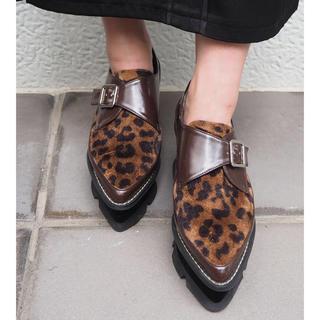 ムルーア(MURUA)のベロアソールローファー  MURUA  レオパード 新色  36(ローファー/革靴)