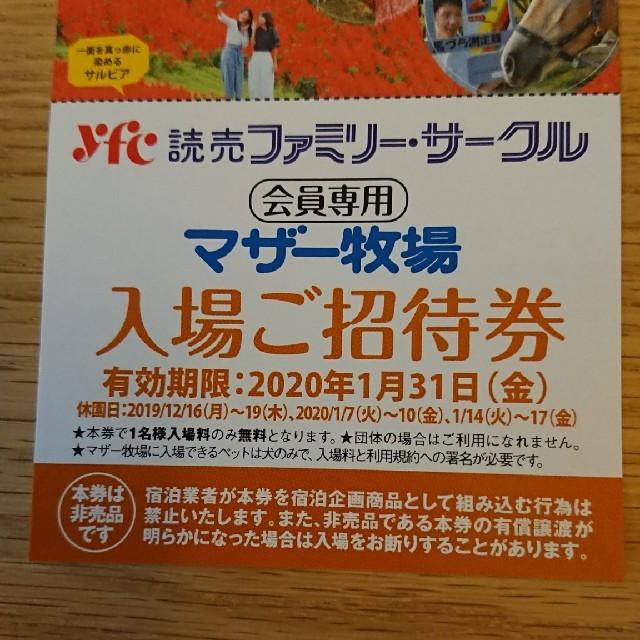 マザー牧場 招待券 チケットの施設利用券(動物園)の商品写真