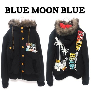 ブルームーンブルー(BLUE MOON BLUE)のブルームーンブルー 中綿 バックプリント ブルゾン F 黒 サーフ レディース(ブルゾン)