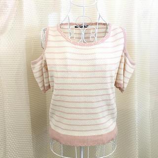 イング(INGNI)の㊁INGNI 新品 肩あきボーダー半袖ニット ピンク #Cattleya(ニット/セーター)