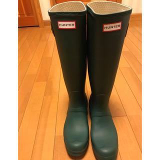 ハンター(HUNTER)の【美品】ハンターレインブーツ UK6  25㎝ グリーン(レインブーツ/長靴)