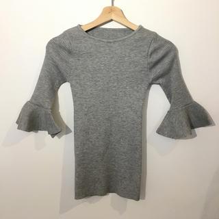 無地 五分袖 袖フリルニット グレー #Cattleya(ニット/セーター)