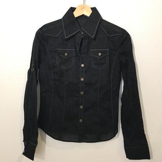 無地 綿シャツ ブラック #Cattleya(シャツ/ブラウス(長袖/七分))