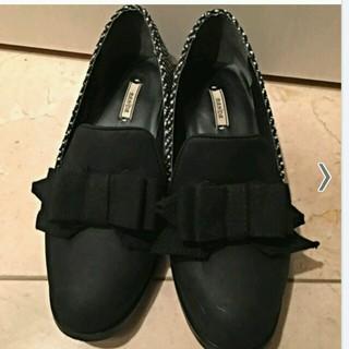 ランダ(RANDA)のツィードフラットシューズ!(ローファー/革靴)