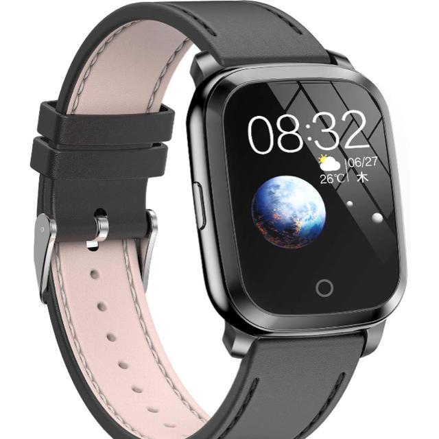 スマートウォッチ 最新Bluetooth5.0 ガラススクリーン 本革ベルトの通販