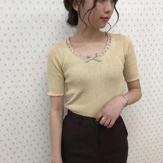 ロキエ(Lochie)のRiLi リボンレースニットT ライトオレンジ(Tシャツ(半袖/袖なし))