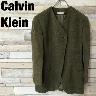 カルバンクライン(Calvin Klein)のCalvin kleinカルバンクライン ノーカラージャケット カーキ サイズ7(ノーカラージャケット)