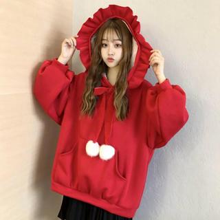 STYLENANDA - 新品 韓国 フリルフード   ポンポン スウェット 赤