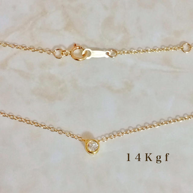 COCOSHNIK(ココシュニック)の14Kgf 一粒ダイヤCZネックレス/一粒ダイヤネックレス 3ミリ 華奢チェーン レディースのアクセサリー(ネックレス)の商品写真
