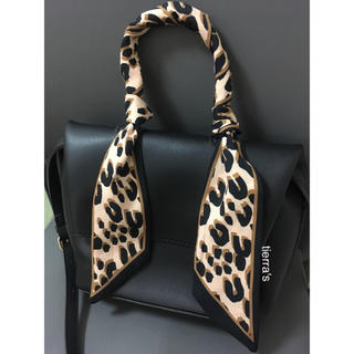 カスタネ(Kastane)の大人気❁︎❁︎お手持ちのbagにも レオパード ヒョウ柄 タイ リボン スカーフ(バンダナ/スカーフ)