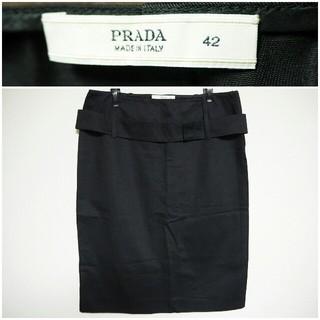 プラダ(PRADA)のPRADA タイトスカート 黒 42(ひざ丈スカート)