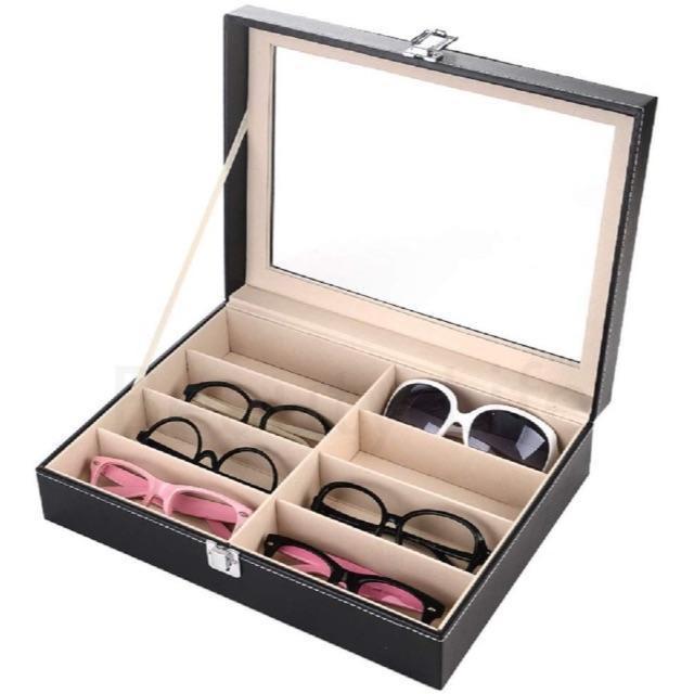 サングラスsunglass メガネ コレクション ケース 収納PU ブラック (の通販