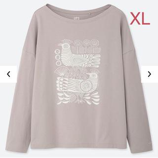 ユニクロ(UNIQLO)のユニクロ リサ・ラーソン グラフィック Tシャツ XLサイズ/ライトグレー 新品(Tシャツ(長袖/七分))