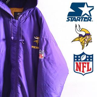 エクストララージ(XLARGE)の古着 NFL STARTER ミネソタ・バイキングス 中綿 ナイロンジャケット(ナイロンジャケット)