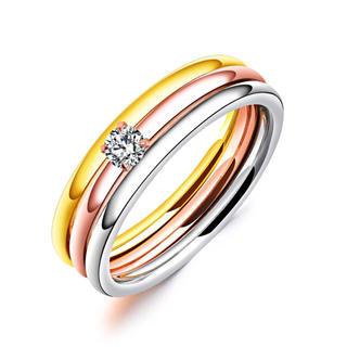 18Kピンクゴールド鍍金 CZダイヤマルチカラー3連リング(リング(指輪))