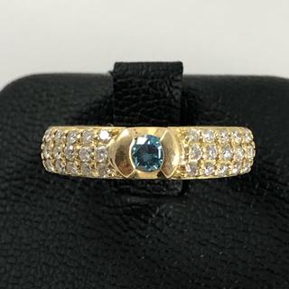 イエローゴールドのトリートブルーダイヤモンドリング(リング(指輪))