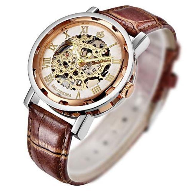 ☆★プレゼントに人気☆★手巻き式 ローズゴールド 腕時計 男女兼用 本革☆★の通販