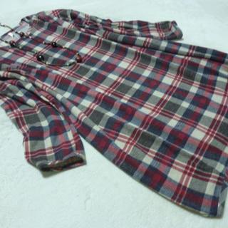 新品 2L 体型カバー コクーンシルエット長袖起毛チェックワンピース(ひざ丈ワンピース)