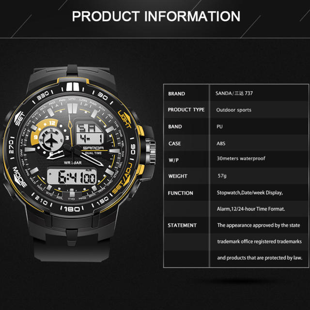 【新品/オマケ付】新商品!SANDA 737 メンズ 腕時計 多機能の通販