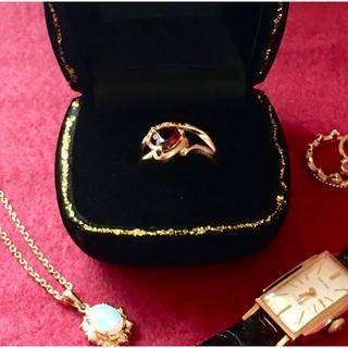 K14 ガーネット ダイヤ ハートカット クラシカルリング(リング(指輪))
