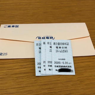 京成電鉄 株主優待 乗車証 4枚(鉄道乗車券)
