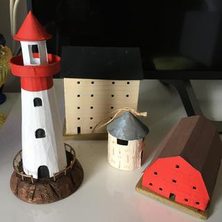ニコアンド(niko and...)の灯台と家のオブジェ(置物)