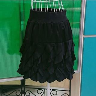 [美品] 程よくタイト♪ フリルが可愛い 黒のミニスカート(ミニスカート)