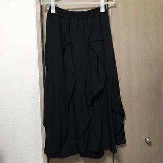 ゴム(gomme)の新品 gomme ドレープスカート ブラック M(ロングスカート)
