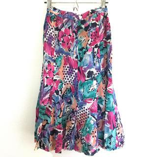サンタモニカ(Santa Monica)のヴィンテージ ボタニカル マルチカラー スカート(ひざ丈スカート)