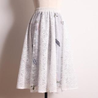 トッコ(tocco)のトッコ フラワー刺繍  レース スカート 白 tocco (ひざ丈スカート)