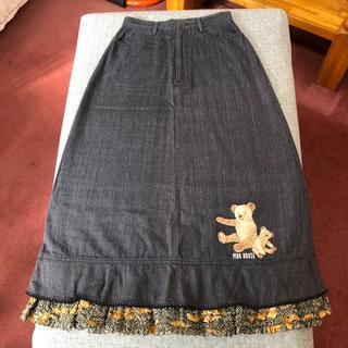 ピンクハウス(PINK HOUSE)のピンクハウス クマの刺繍とフリル付きデニムスカート(ロングスカート)
