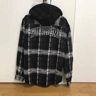 シュプリーム(Supreme)のL 黒Supreme Hooded Jacquard Flannel Shirt(シャツ)