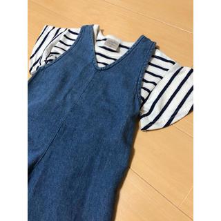 フタフタ(futafuta)のfutafuta☆ボーダーカットソー&ワイドサロペットパンツセット80cm(ワンピース)